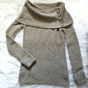 Nine West Brown Cowl Neck Buttons Sweater